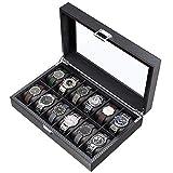CRITIRON 12 Slot Caja para Relojes de Fibra de Carbono, Organizador de Relojes para Hombres, Caja para Relojes y Joyas