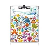 クリップボード A4 熱帯の動物 学用品A4 バインダー 海洋のオブジェクトを使用したダイビングの海の動物のコレクションクジラサンゴの水中 A4 タテ型 クリップファイル ワードパッド ファイルバインダー 携帯便利多色