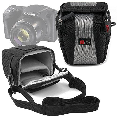 Duragadget - Maletín para cámara de fotos Canon PowerShot SX420 is, color negro y gris