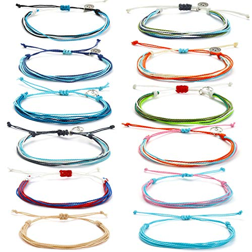 Starain VSCO String Wave Bracelet for Women Girls Boho Handmade Waterproof Adjustable Braided Rope Friendship Bracelets Set Anchor Woven Bracelet Set
