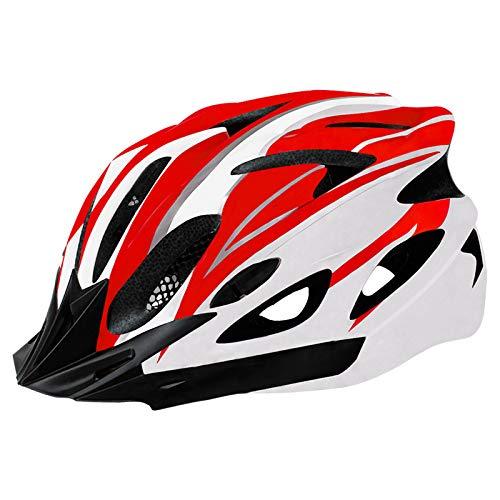 Casco de Bicicleta para Adulto Casco Ciclismo BMX Protector Ligero con Correa Ajustable y Visera Desmontable para Montar Protección de Seguridad Unisex para Carretera Montaña (Rojo & Blanco, 52-61cm)