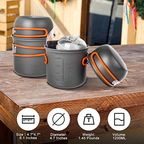 Beteray Camping Cookware Set Portable Camp Stove with Lightweight Pots and Pans Set Non-Stick Backpacking Cooking Set Camping Mess Kit with Folding Knife and Fork for Outdoor Hiking Picnic (16 Pcs)