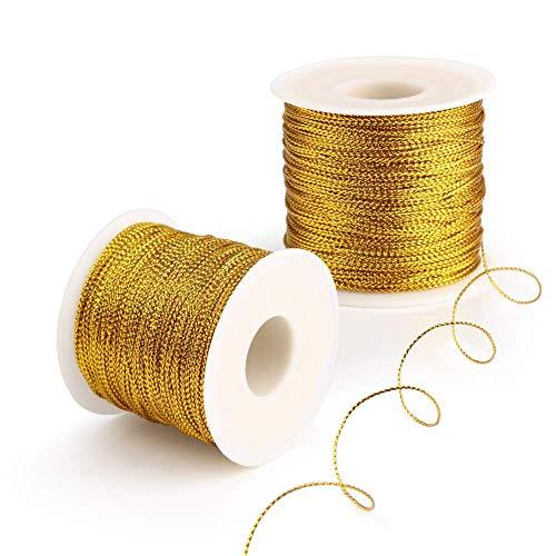 Bäckergarn, 20 m, Metallic-Gold / Silber, 1 mm breit, für Bastelarbeiten, Kunst oder Geschenkverpackungen, gold, 20Meters