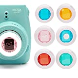 Colored Filter Close-Up Lens for Fujifilm Instax Mini 9 Instax Mini 7S, Instax Mini 8 Cameras, Poloroid PIC 300, Instax Hellokitty Camera (Red/Blue Circle/Yellow/Green/Pink Heart) - 6 Pack