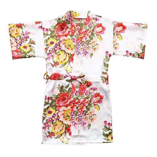 Gebreide jas Roben badjas äRmel bloem pioenrozendruk stropdas Dunne baby kid meisje bloemen silk satijn kimono nachtkleding kleding 8 wit