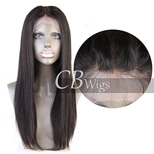 """Cbwigs Glueless 360 Dentelle Perruque Frontale Fit Haute Queue De Cheval (20"""" 190% Density Noeuds blanchis, 1B)"""
