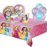 ocballoons Kit Festa Compleanno Party Principesse Disney 109pz 24 Ospiti Elsa Anna Set Addobbi e Decorazioni 24 Piatti 24 Bicchieri 40 tovaglioli 1 Tovaglia 20 Palloncini Bambina (24 Persone)