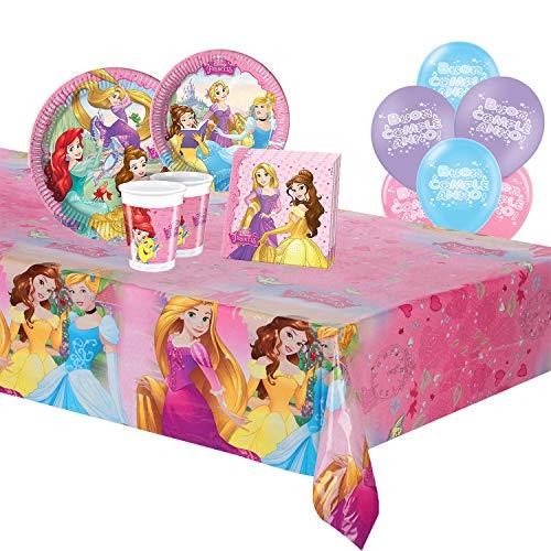 ocballoons Kit Festa Compleanno Party Principesse Disney 57pz 8 Ospiti Elsa Anna Set Addobbi e Decorazioni 8 Piatti 8 Bicchieri 20 tovaglioli 1 Tovaglia 20 Palloncini Bambina (8 Persone)