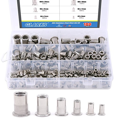 Glarks 180Pcs 304 Stainless Steel Flat Head Threaded Rivetnut Insert Nutsert Rivet Nut Assortment Kit - M3 M4 M5 M6 M8 M10