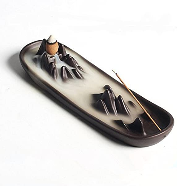 Ceramic Mountain Peak Boat Style Multifunction Incense Burner Stick Backflow Incense Holder Clay Incense Ash Catcher Home Decor
