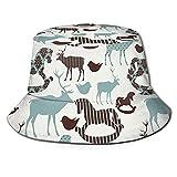Yearinspace Sombrero de pescador de ciervos y caballos mecedores, sombrero de viaje, plegable, sombrero de sol de playa...