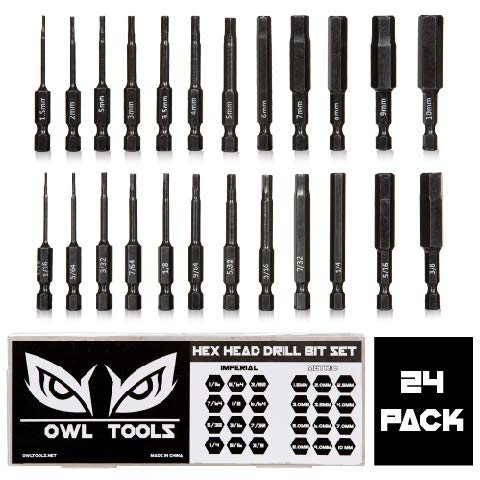 "Hex Head Allen Wrench Drill Bit Set (24 Pack in Metric & SAE) - Magnetic Tips - Hardened CRM Steel Alloy - 2.3"" Long"