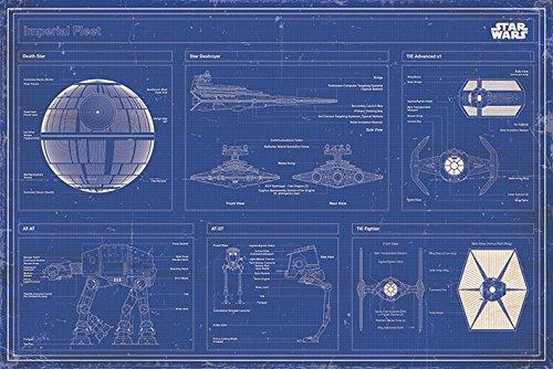 Star Wars Popartuk - Póster de Mapa de la Guerra de Las Galaxias (91,5 x 61 cm), Color Azul