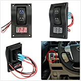 Ronben 12-24V LED Dual Battery Test Panel Rocker Switch Car Truck Marine Boat Voltmeter 4P ON-Off-ON
