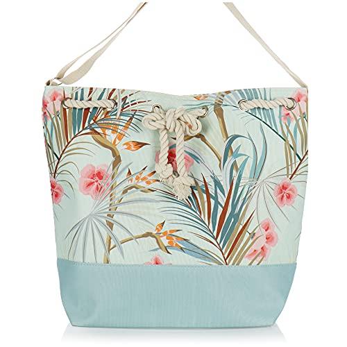 com-four® Bolsa de Playa Grande - Bolsa de Piscina Moderna para Utensilios de Playa - Bolso de señora para Compras - Bolsa de Hombro para Playa, Piscina, Vacaciones (Menta - Floral)