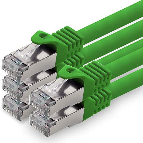 1aTTack.de 0,5m - grün - 5 Stück CAT.7 Netzwerkkabel Patchkabel SFTP PIMF LSZH Gigabit LAN Kabel 10Gb s cat7 Rohkabel mitRJ45 Stecker Cat6a kompatibel zu CAT5 CAT6 cat7 cat8