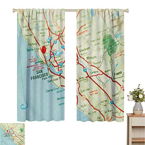 """2020 Gardome Blackout Curtains 2 Panels Map,Vintage Map of San Francisco Bay Area with Red Pin City Travel Location,Pale Blue Pale Green Red,Darkening and Thermal Insulating Draperies 84"""" W x 100"""" L"""
