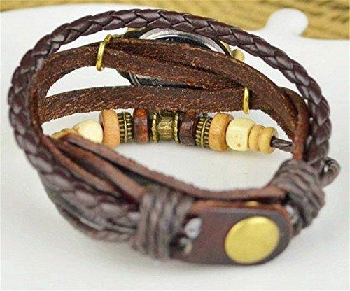 Reto más vendido de las mujeres Boho Chic bronce Oval mariposa piel Weave Wrap vestido reloj de pulsera–marrón