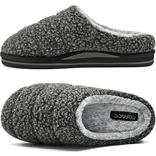 COFACE Pantofole Uomo da Casa Comoda Scarpe da Casa Memory Foam Calde Ciabatte Inverno Uomo Antiscivolo Interno Esterno,Nero 44