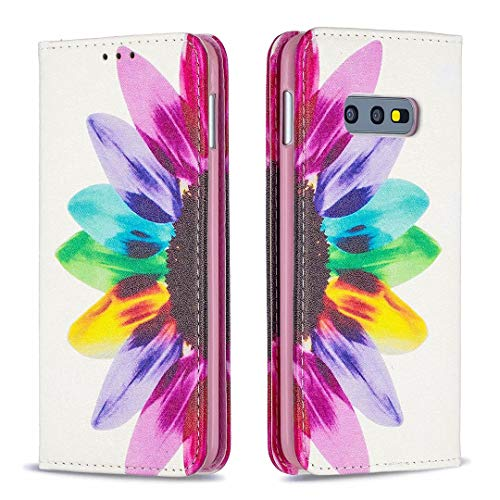 Miagon Brieftasche Hülle für Samsung Galaxy S10e,Kreativ Gemalt Handytasche Case PU Leder Geldbörse mit Kartenfach Wallet Cover Klapphülle,Sonnenblume