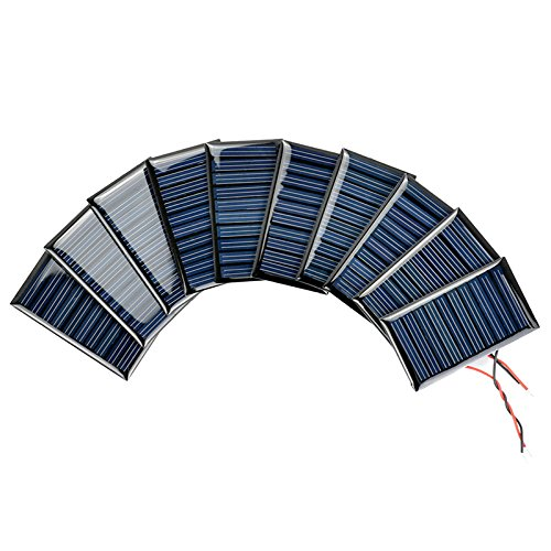 AOSHIKE 10Pcs 5V 30mA Mini Solar Panels for Solar Power Mini Solar Cells DIY Electric Toy Materials Photovoltaic Cells 53x30MM(5V 30mA 53x30MM)