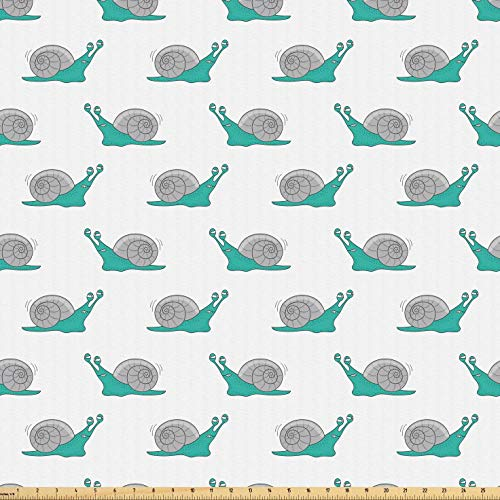 Lunarable Snail Fabric by The Yard, Funny Kids Cartoon Animals Mollusks with Tired Face Expressions, Microfiber Fabric for Arts and Crafts Textiles & Decor, 1 Yard, Grey Green