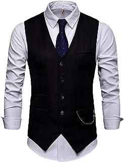 MU2M Men Slim Single Breasted V-Neck Business Casual Suit Vests Waistcoat
