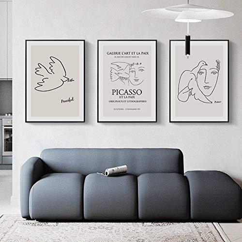 WKAQM Abstracto Poster y Impresiones Picasso Paz Paloma Lienzo Pintura Pared Arte minimalismo Pared Cuadros para Sala de Estar habitación Moderno hogar Decoracion 40 × 60 cm × 3 sin Marco