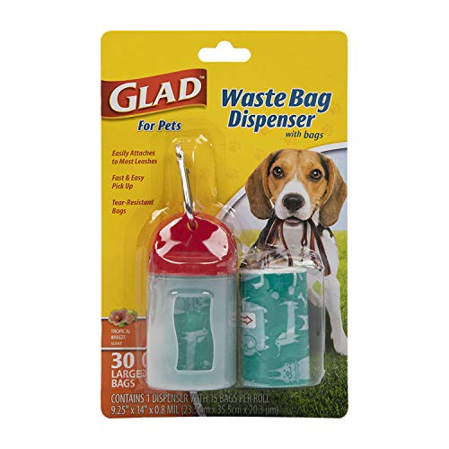 Glad for Pets Extra Large Tropical Breeze Scented Dog Waste Bags and Dispenser With Metal Clip| Poop Bags for Dogs, 30 Count - Easy Way to Clean Up After Your Pet