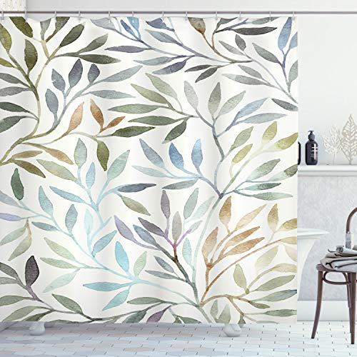 ABAKUHAUS bladeren Douchegordijn, Aquarel Bloemen Patroon, stoffen badkamerdecoratieset met haakjes, 175 x 200 cm, Veelkleurig