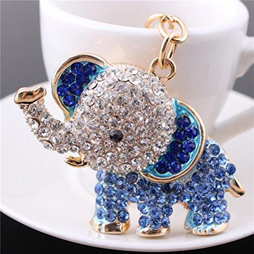 NUOLUX Cute Elephant Style Rhinestone Decorated Key Ring Keychain (Blue)