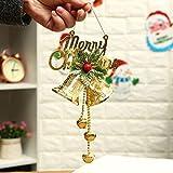 UKH Campane di Natale Orologi da parete Doppie Campane di Natale Ciondoli Albero di Natale Decorazioni di Natale Foglie Verdi Rosso Frutta Vento Chimes