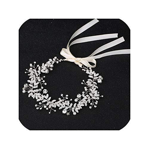 Almighty-shop bridal headbandDiadema de novia con diamantes de imitación y perlas para mujer, hecha a mano, color, Color,