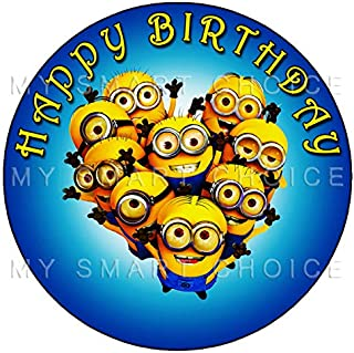 7.5 Inch Edible Cake Toppers – Minions Themed Birthday Party Collection of Edible Cake Decorations