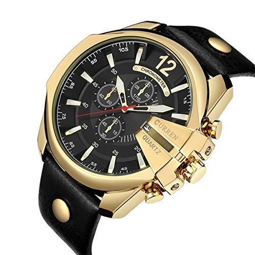 Relógio Masculino Curren 8176 Couro Preto