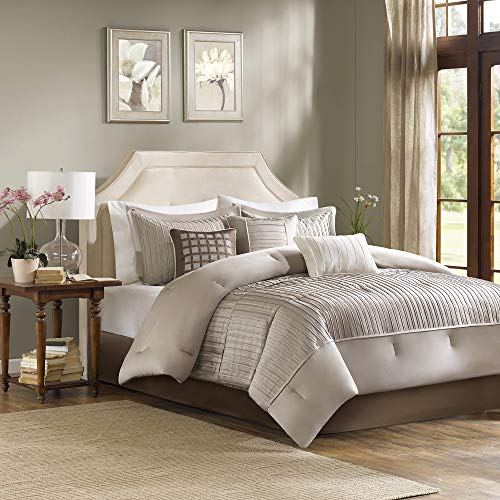 "Madison Park Cozy Comforter Set-Trendy Design All Season Down Alternative Luxury Bedding with Matching Shams, Decorative Pillows, King(104""x92""), Trinity, Stripe Pleating Taupe, 7 Piece"