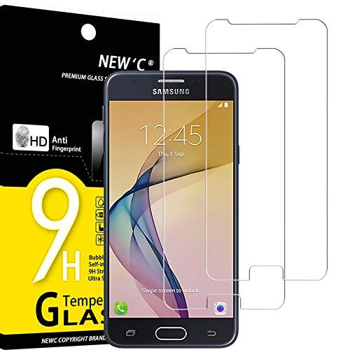 NEW'C 2 Pezzi, Vetro Temperato Compatibile con Samsung Galaxy J5 Prime, Pellicola Prottetiva Anti Graffio, Anti-Impronte, Durezza 9H, 0,33mm Ultra Trasparente, Ultra Resistente