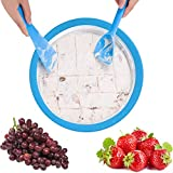 Ice Cream Maker Pan, Instant Ice Cream Maker Yogurt Frozen Pan Ice Roll Time Pan Tray with Fried Ice...