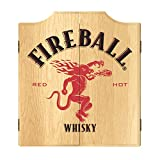 Trademark Global Dart Board Cabinet Set- Fireball Dartboard Game Includes 6 Steel Tip Darts, Scoreboard & Hanging Wood...
