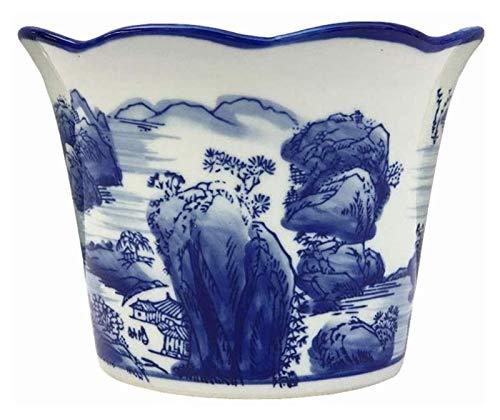 DWhui Maceta Cubierta Decorativa Interior/Exterior Planta carnosa cerámica Pintada a Mano Azul y Blanco potes de Porcelana Antigua Plantas Verdes jardinería plantador en Maceta Interior al Aire Libre