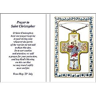 "2"" Wood St SAINT CHRISTOPHER NECKLACE PENDANT Prayer Leaflet Verse Keepsake 73181"