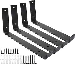 Shelf Brackets 12 Inch 4PCS Heavy Duty Black Wall Bracket with Lip for Floating Shelves Rustic Iron Metal Shelf Bracket fo...