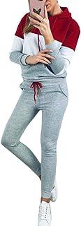 Conjunto de Dos Piezas para Mujer Trajes Chándal Sudadera con Capucha de Manga Larga Sudadera y Pantalones Largos Joggers Suit Lounge Sweatsuit