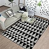 alfombras habitacion Infantil Alfombra Negra, tapete para Gatear en Forma de triángulo, tapete para Yoga, Alfombra para el Ocio y Transpirable Alfombra de Pelo -Negro_Los 80x120cm