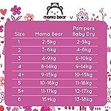Mama Bear Ultratrockene Windeln Größe 5+ (11-17 kg) – mit Luftkanälen- 148 Windeln (2 Packungen à 74 Windeln) - 6