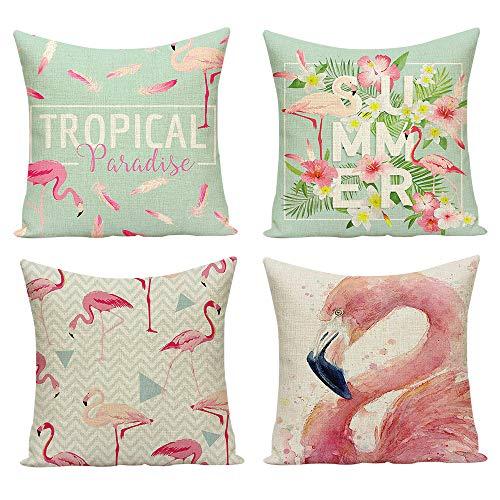 Hoomall Kissenbezug Baumwolle Leinen Kissenhülle Dekokissen Fall Sofa Auto Kissenbezüge 45 x 45 cm 4er Set Flamingo Weihnachten (Rosa)