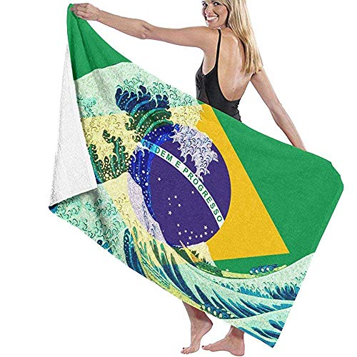 Toallas de Playa Brasil Flag and Wave Off Kanagawa Toalla de Manta de Playa Grande Toalla de baño Ultra Suave Altamente Absorbente de Gran tamaño 130 X 80 cm