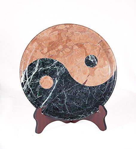 Marmor Yin Yang/Ying-Yang, piatto decorativo in pietra naturale, ciotola decorativa cinese, pezzo unico, ciotola decorativa in pietra naturale, rosso e verde scuro, dimensioni Ø/H: 30/3 cm, peso: circa 6 kg.
