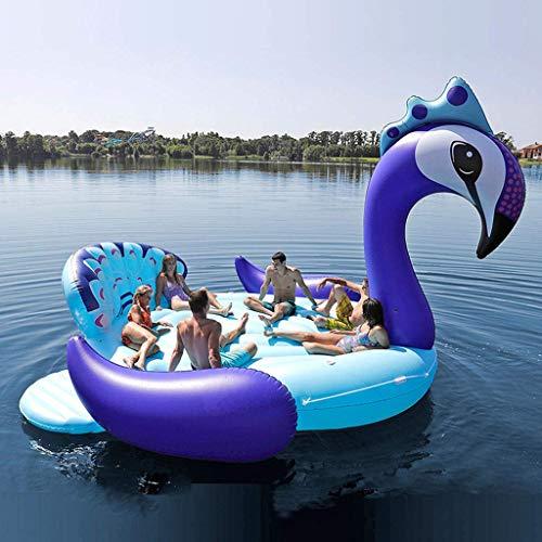 Mnjin Freizeitpool Float 6 Personen Aufblasbarer Riesenpfau Pool Float Island Swimmingpool Lake Beach Party Schwimmboot Adult Water Toys Luftmatratzen Blue-540 * 470cm