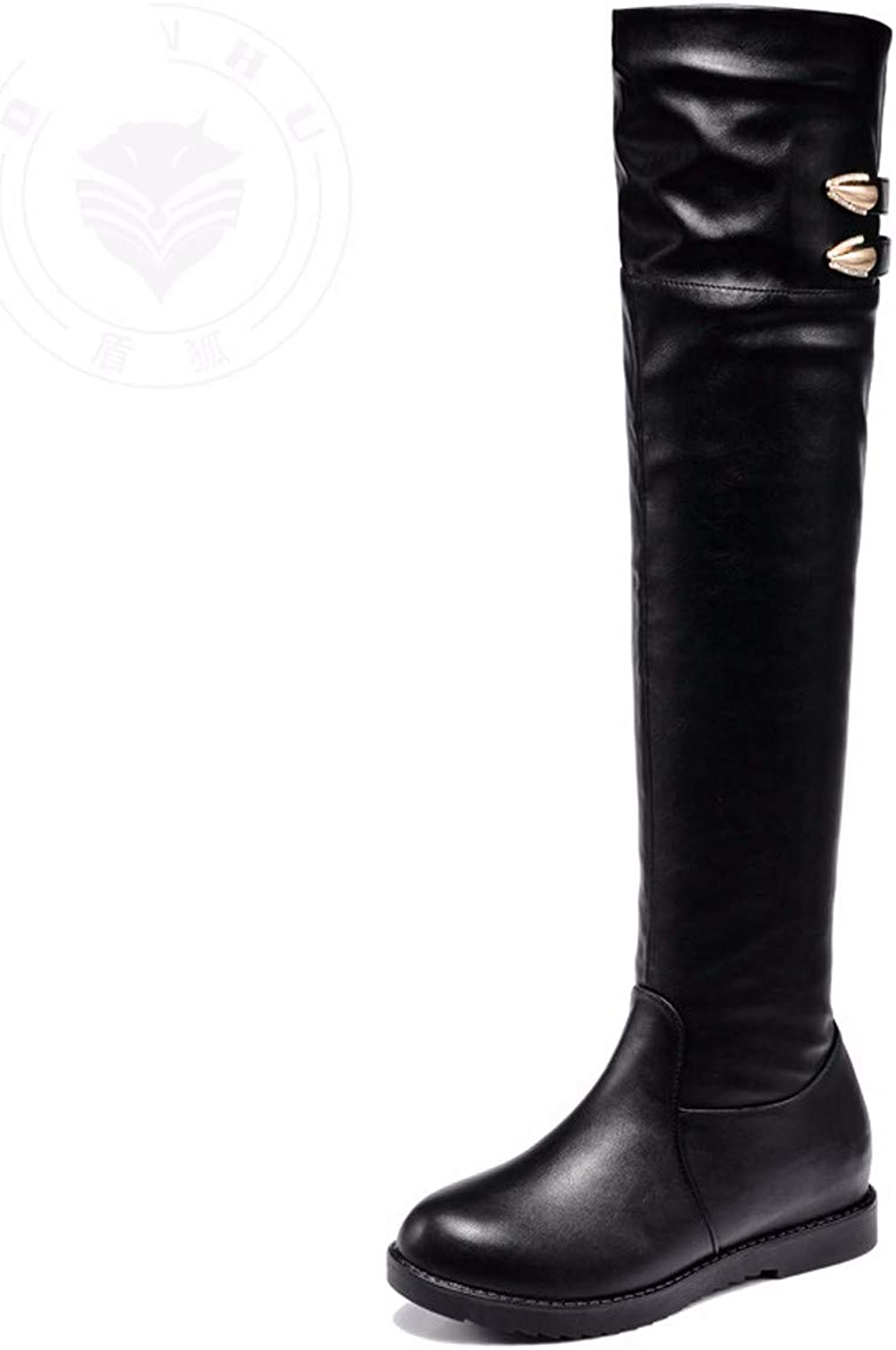 GTVERNH Women's shoes Knee Boots Knights Boots Black Thirty-Six